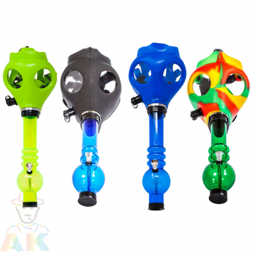 GAS MASK ASSORTED COLOR WITH ACRYLIC SMOKING PIPE