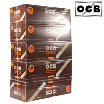 OCB UNBLEACHED HOLLOW TIP FILTER TUBES 200ct/5PK