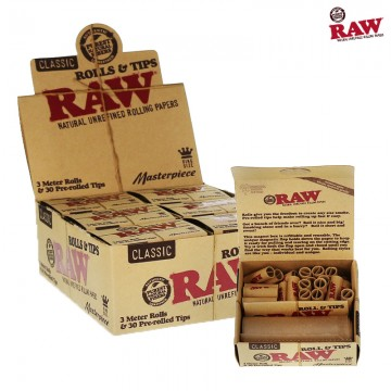 RAW CLASSIC 3 METER ROLLS & TIPS KING SIZE - 30ct