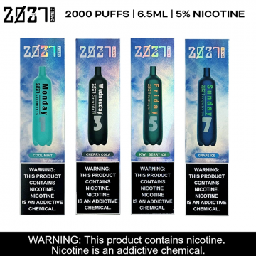 2027 DATE7 5% SALT NICOTINE 6.5ml/2000 PUFFS DISPOSABLE DEVICE POWERED BY SUORIN 10ct/DISPLAY