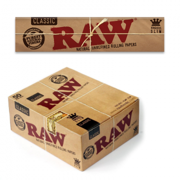 RAW CLASSIC KING SIZE SLIM ROLLING PAPERS - 32ct/50 PK